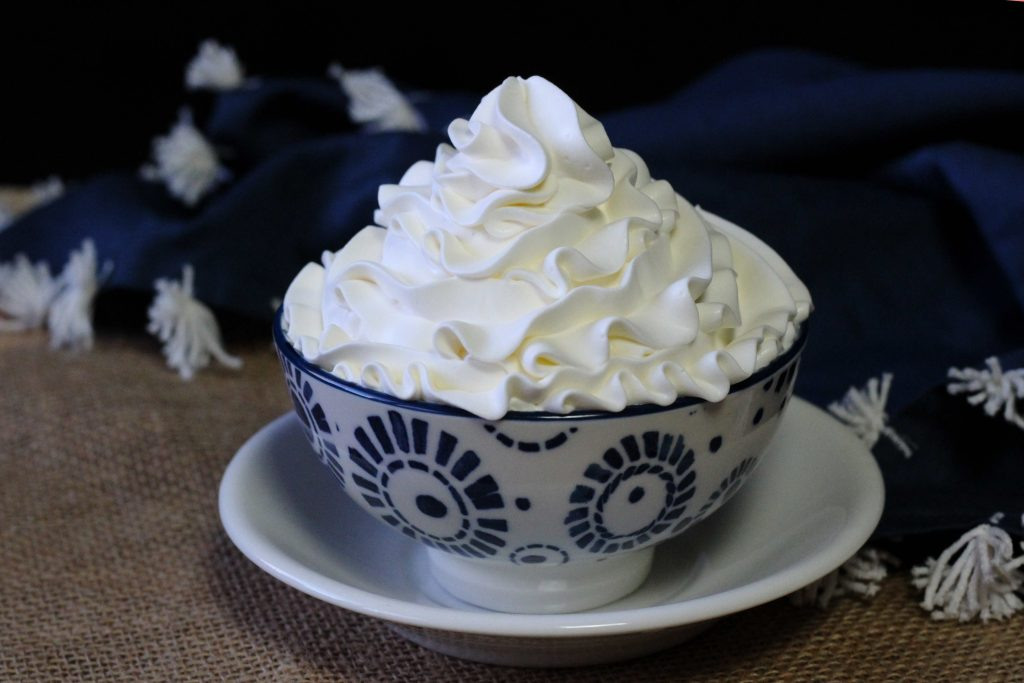 Vanilla Crown royal Whipped cream in a bowl