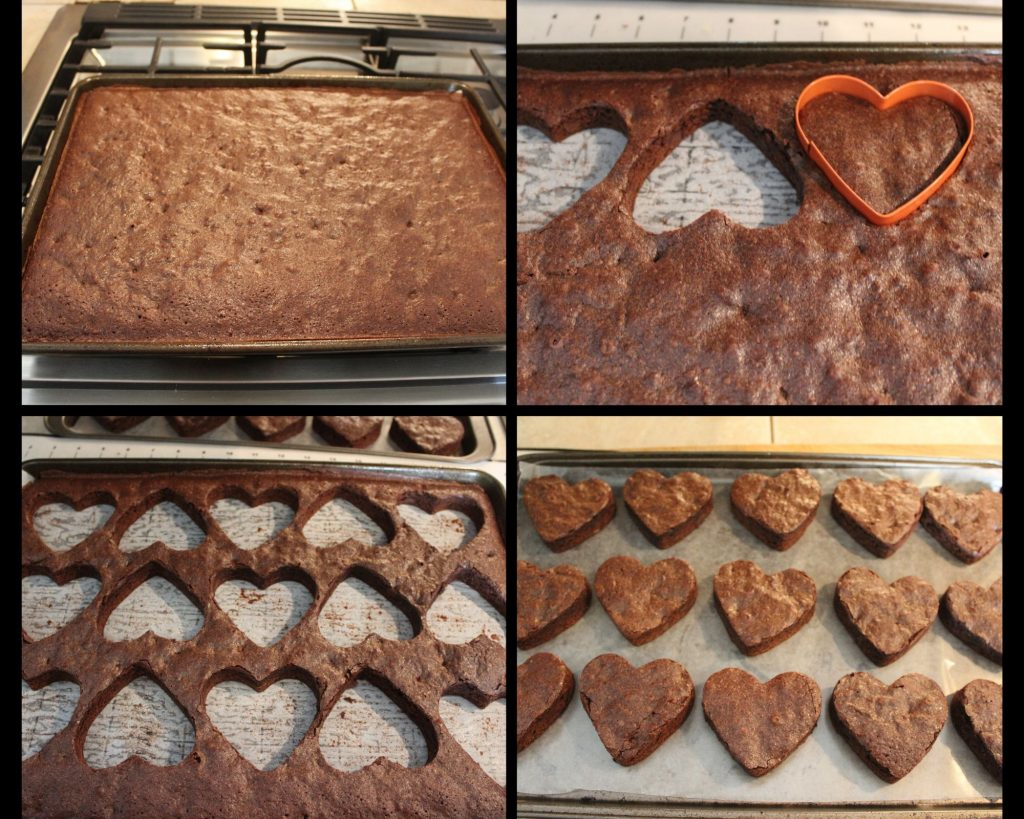 steps for cutting brownie hearts
