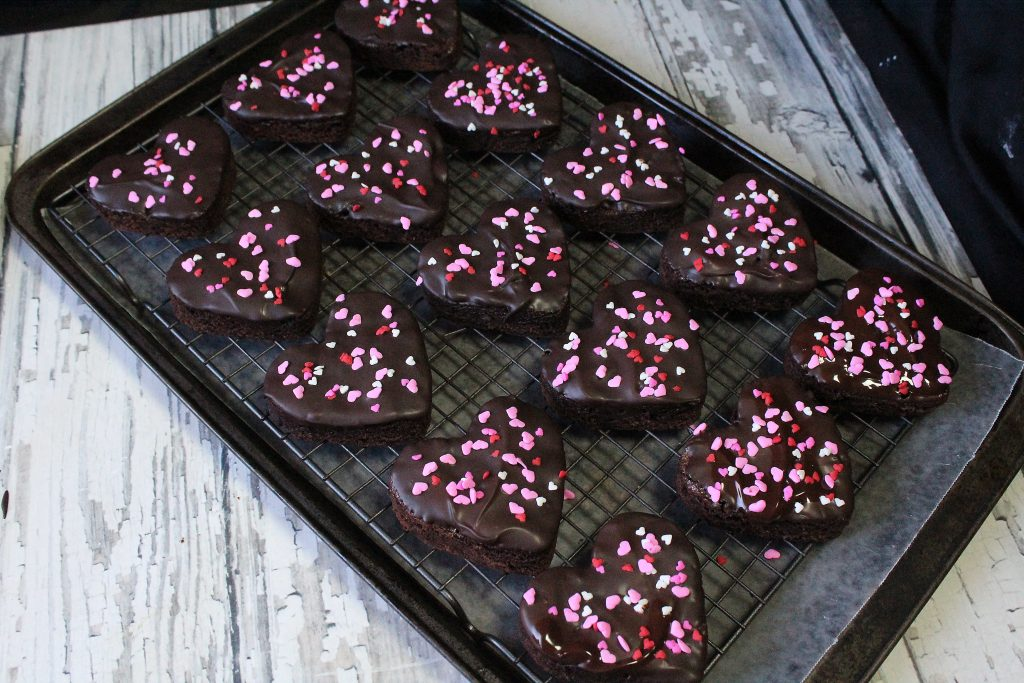 chilled brownie hearts