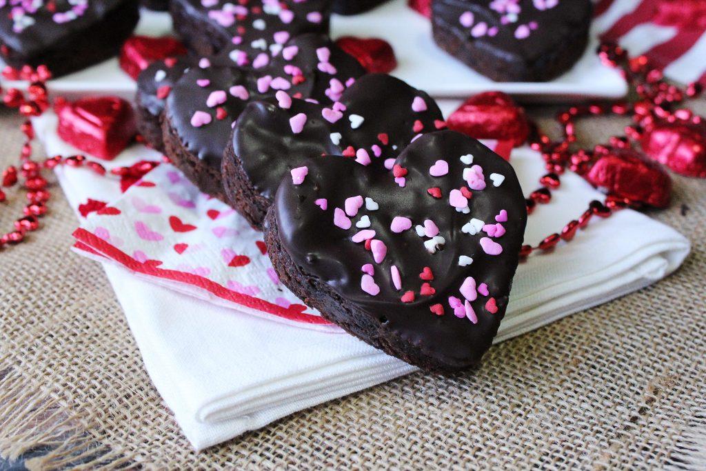 brownie hearts on a napkin
