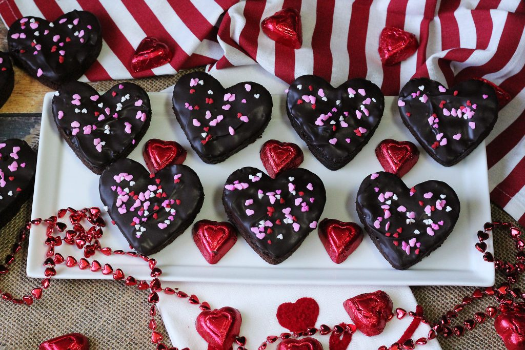 Chocolate Dipped Brownie Hearts on a platter