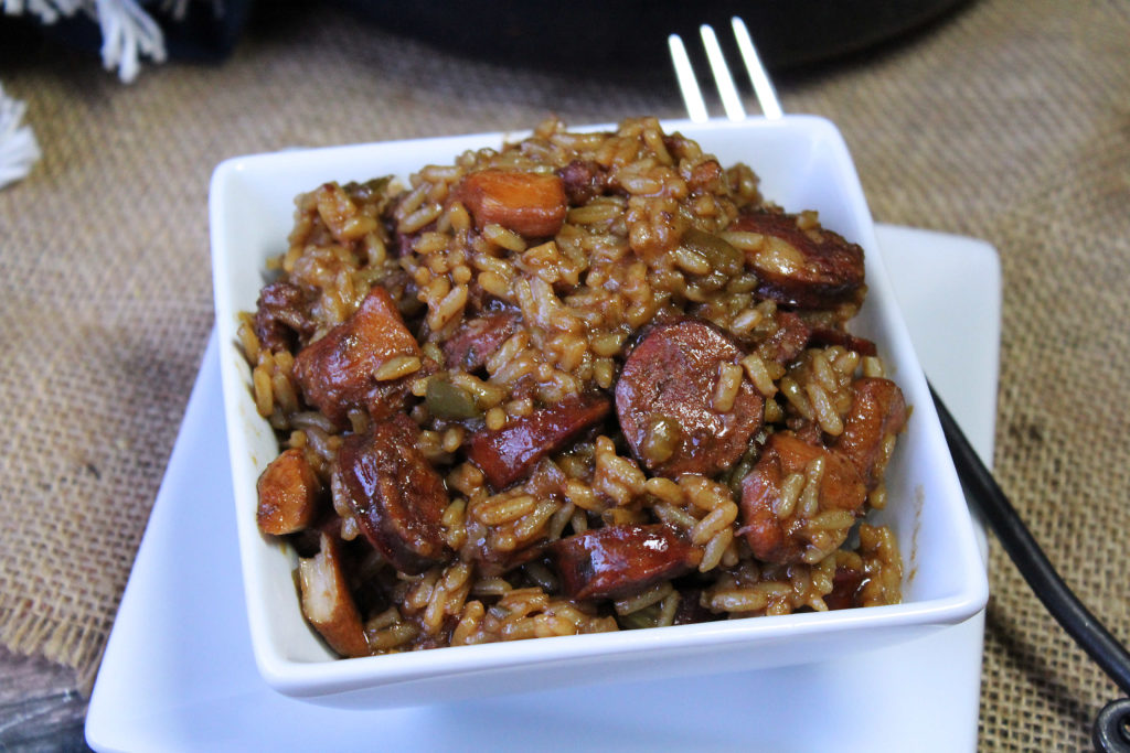 Chicken and Sausage Jambalaya in a white bowl