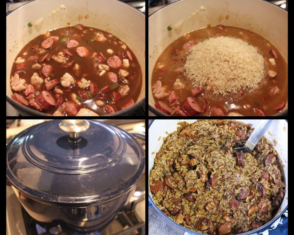 cooking and cooked jambalaya