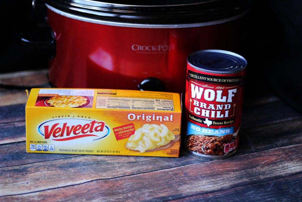 Crock Pot , velveeta and a can of chili