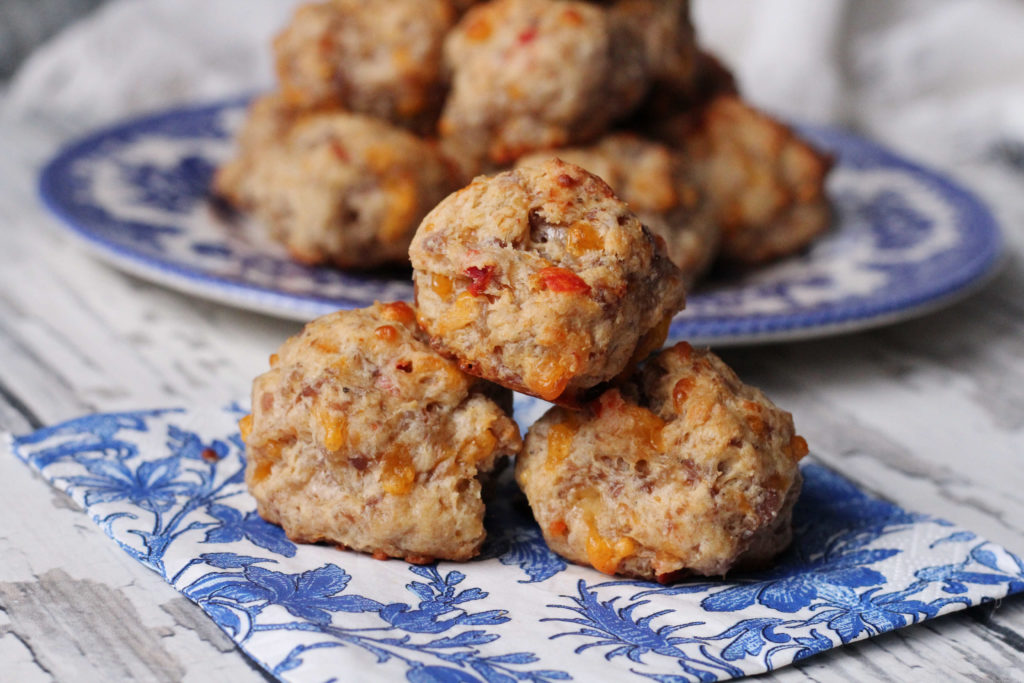 Pimento and Cheese Sausage Balls on a napkin