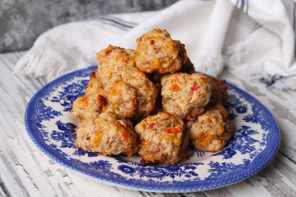 Pimento and Cheese Sausage Balls on a blue and white plate