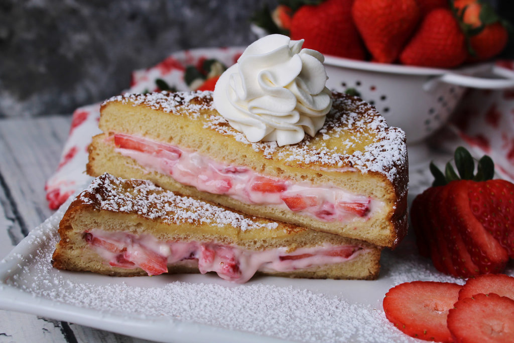 Strawberry Cheesecake French Toast on a white plate close up