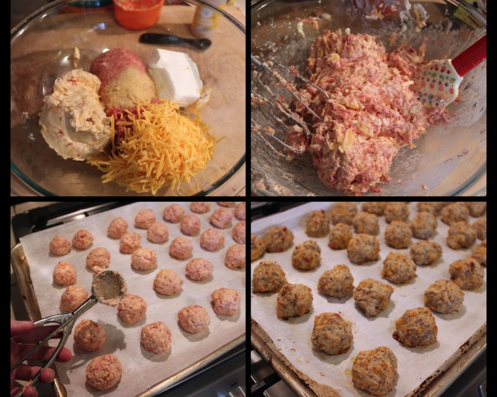 making Pimento and Cheese Sausage Balls