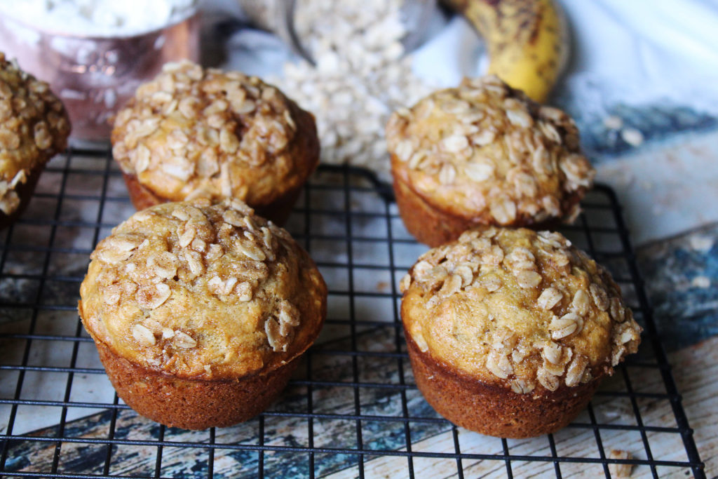 Banana Oat Muffins on cooling rack