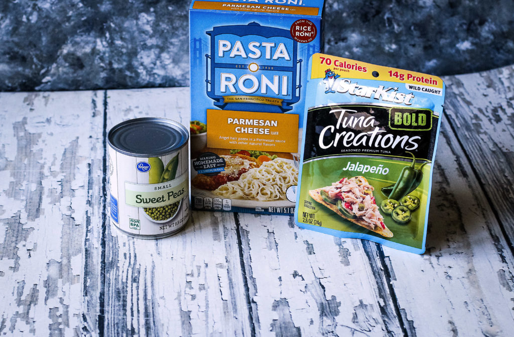 3 ingredients for dish,:peas, pasta, and tuna pouch