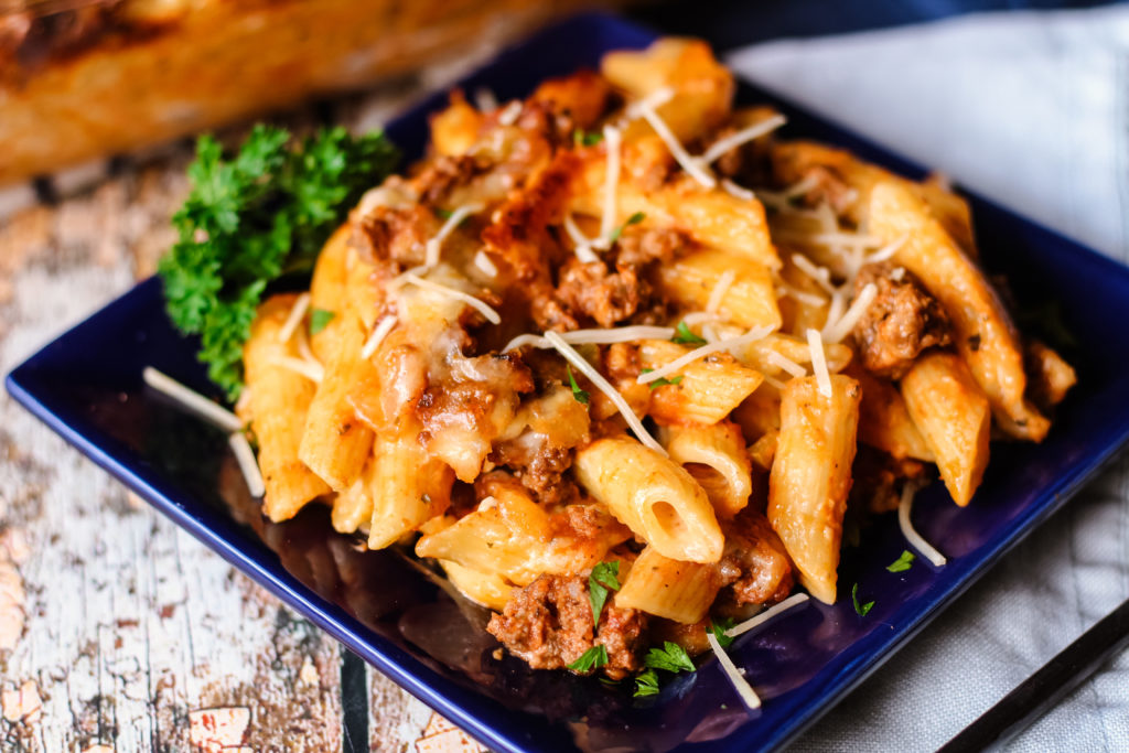 Single serving of easy baked ziti