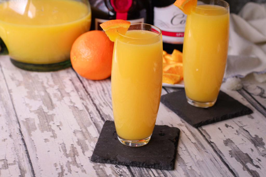 Mimosas in flutes
