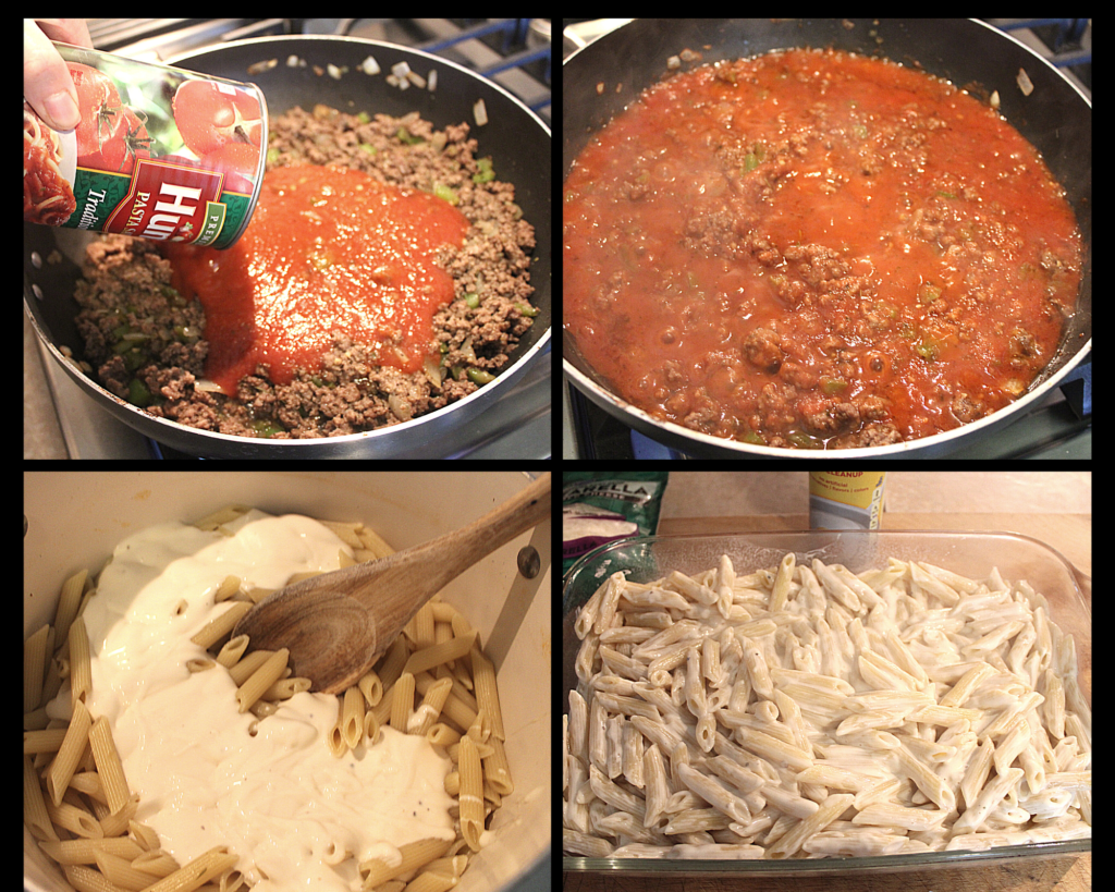 Adding pasta sauce to meat and white sauce to pasta