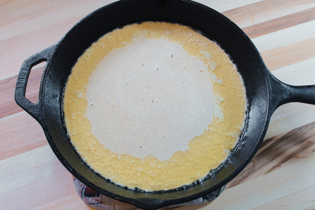 batter poured into the skillet