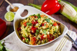 Corn salad on a white bowl