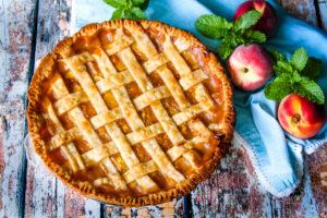 Peach Pie with a lattice crust top