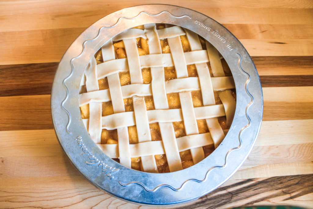 Pie crust shield on pie