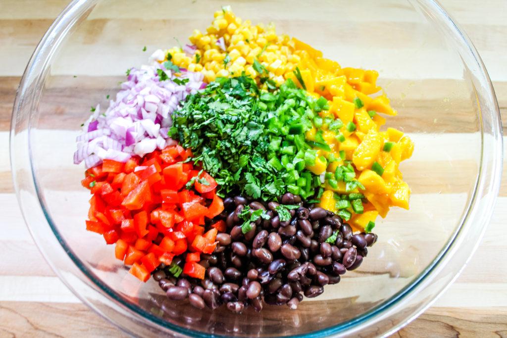chopped ingredients for mango black bean salad