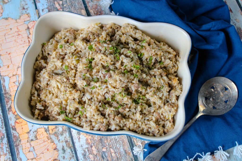 Eggplant Rice Dressing in a serving bowl