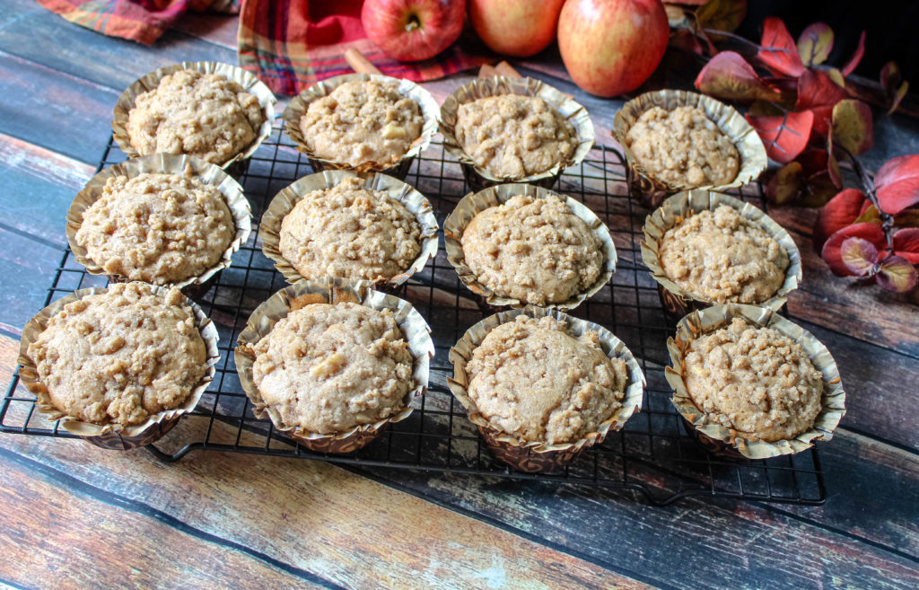 Apple Crumb Muffins on cooling rack