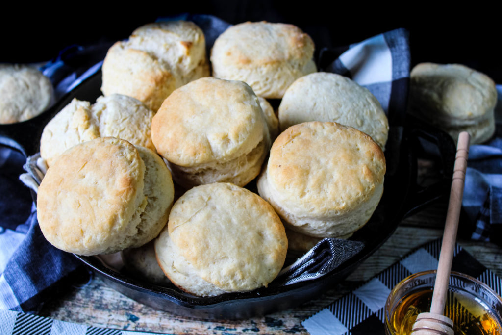 Southern Buttermilk Biscuits in a cast iron skillet