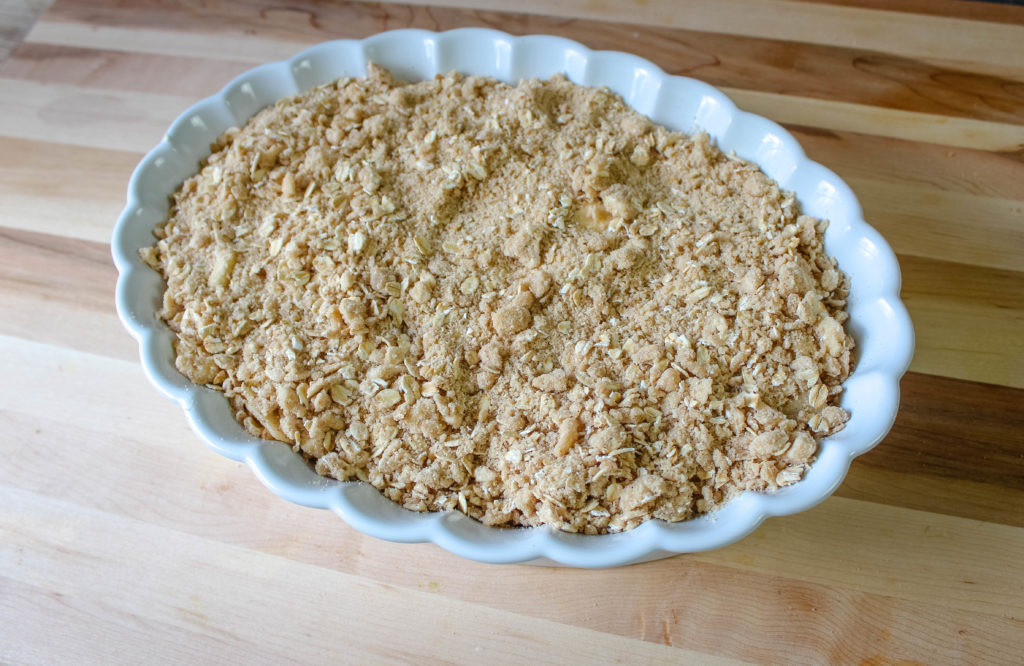 Crisp topping added before baking