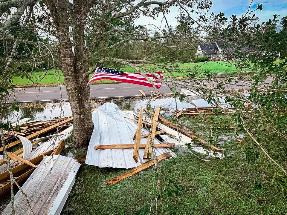 Hurricane debris with an american flag