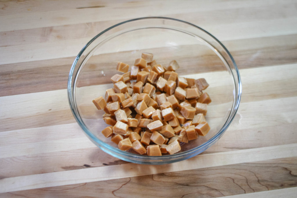 chopped caramel in a bowl