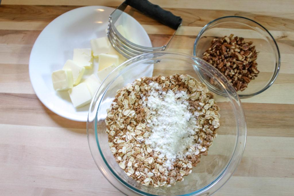 The crisp ingredients: Butter, flour, oats , flour , pecans and spices