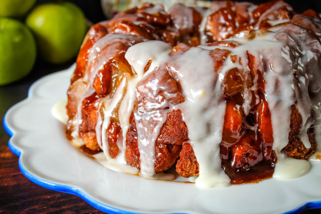 Apple Pie Monkey Bread on a white platter up close
