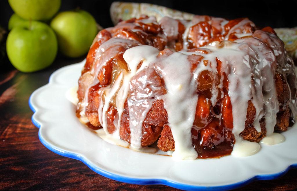 Apple Pie Monkey Bread on a white platter