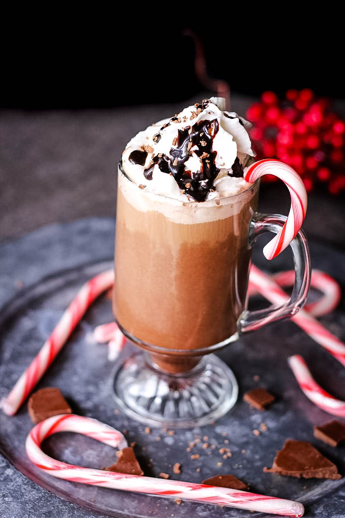 Peppermint mocha topped with whipped cream and chocolate