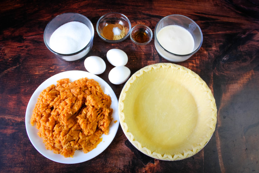 Ingredients for Southern Sweet potato pie
