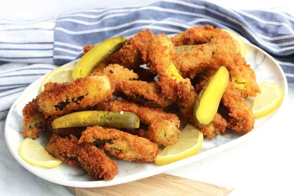 fried pickles on a platter