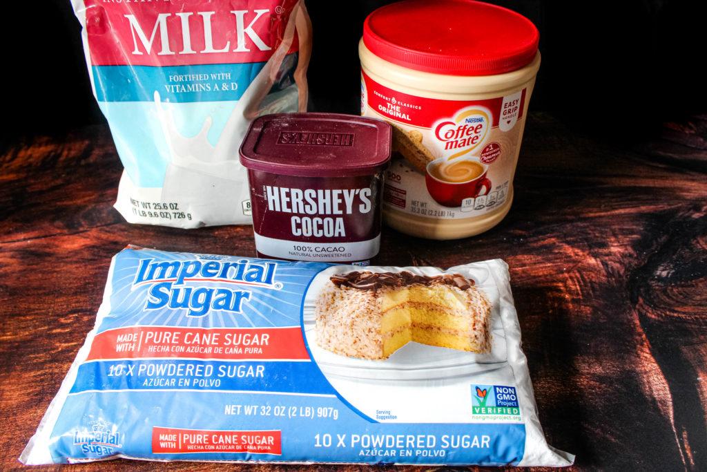 Ingredients for hot coca mix. Powdered milk, coca, powdered creamer , powdered sugar