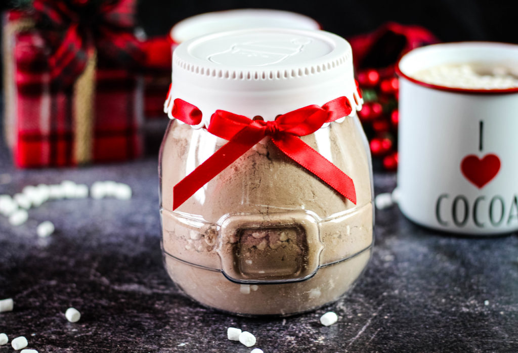 Hot cocoa mix in a Christmas jar