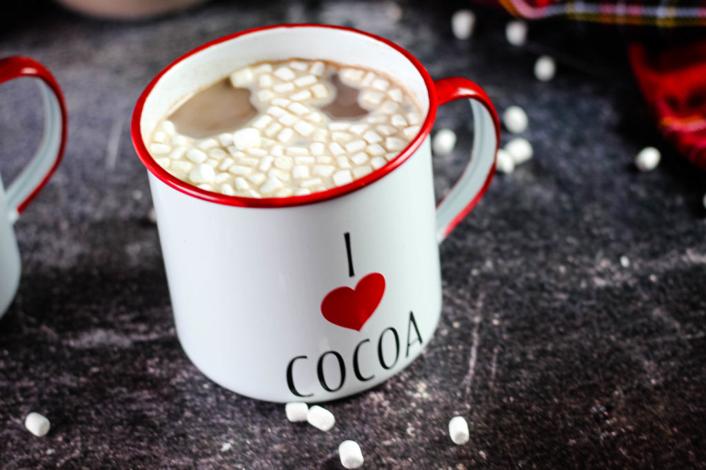 Hot cocoa in a mug with marshmallows