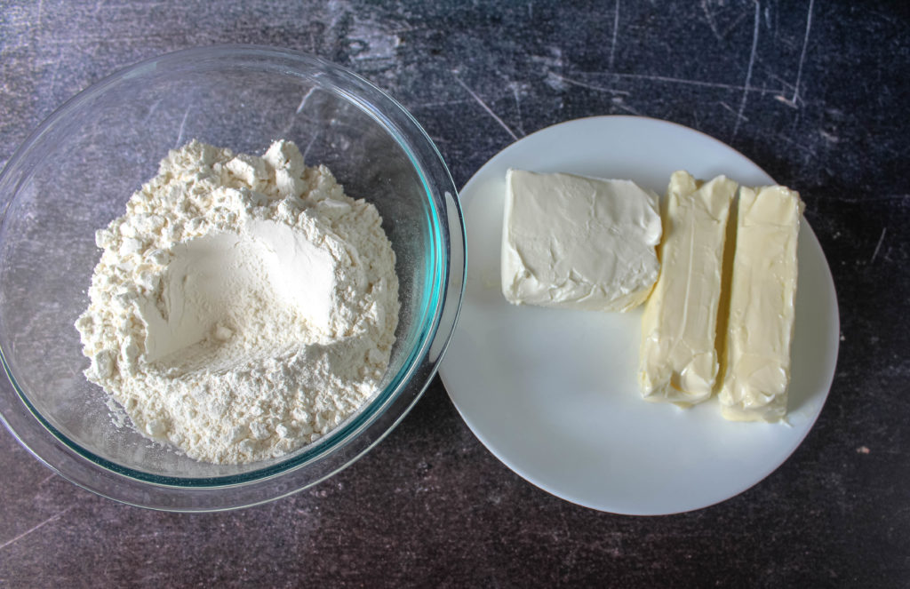 flour cream cheese and butter..crust ingredients