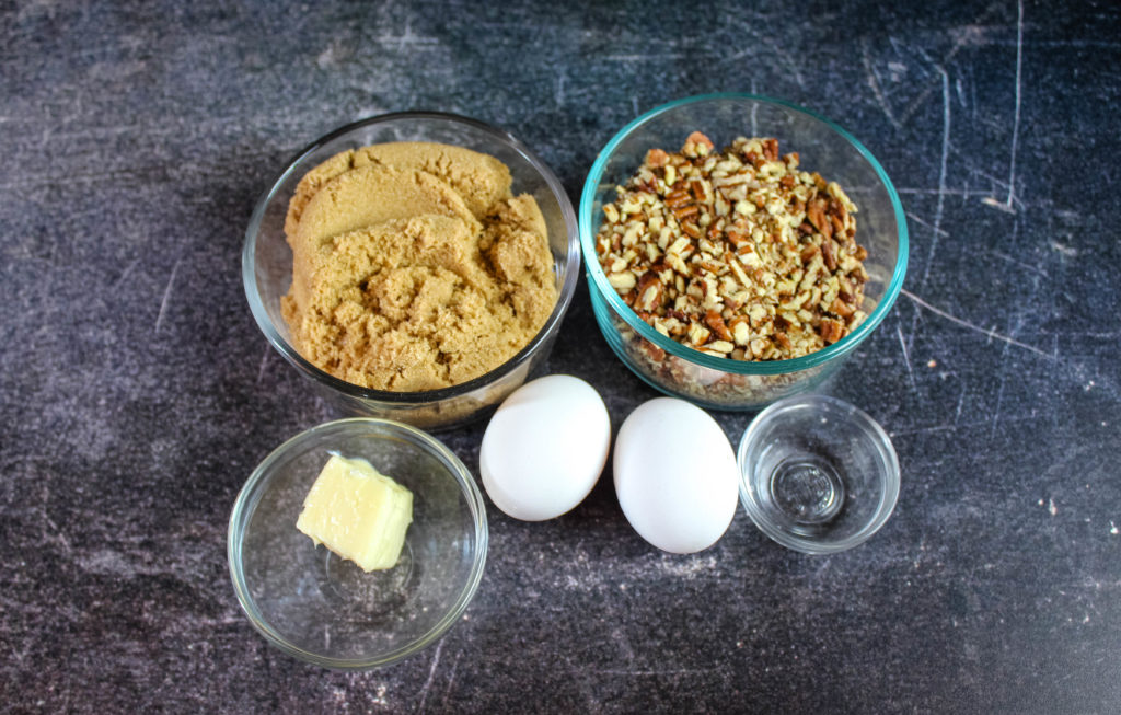 Filling ingredients ..brown sugar , eggs , butter , vinegar pecans