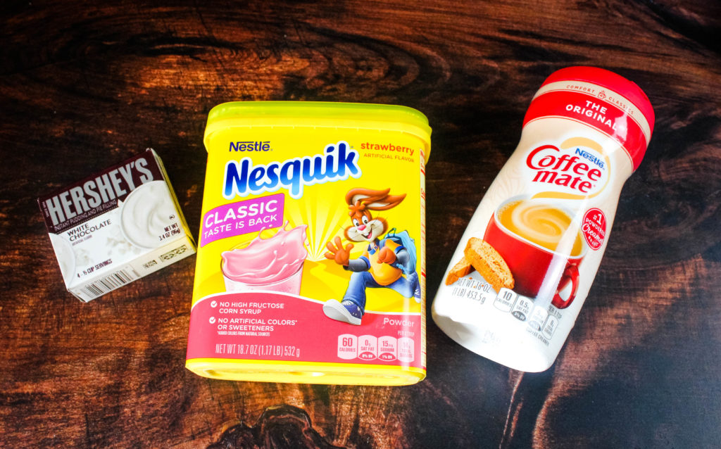 The three ingredients for Pink Hot Cocoa mix