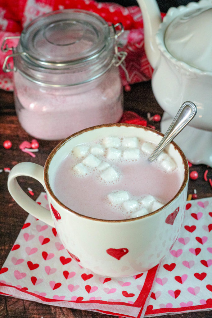 Pink Hot Cocoa mix in a heart mug