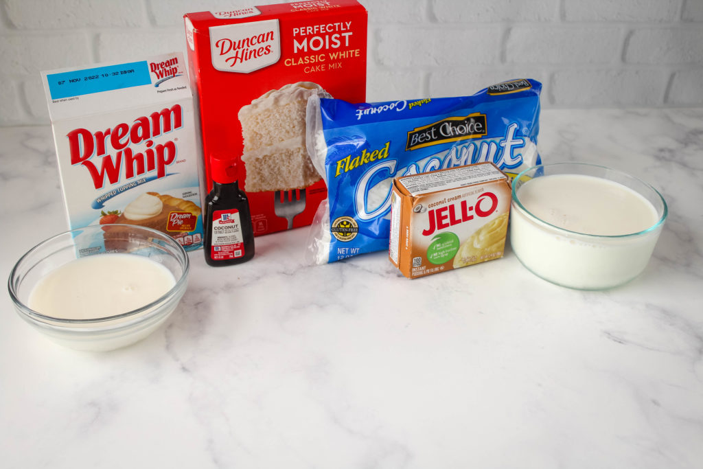 The ingredients needed for coconut poke cakes