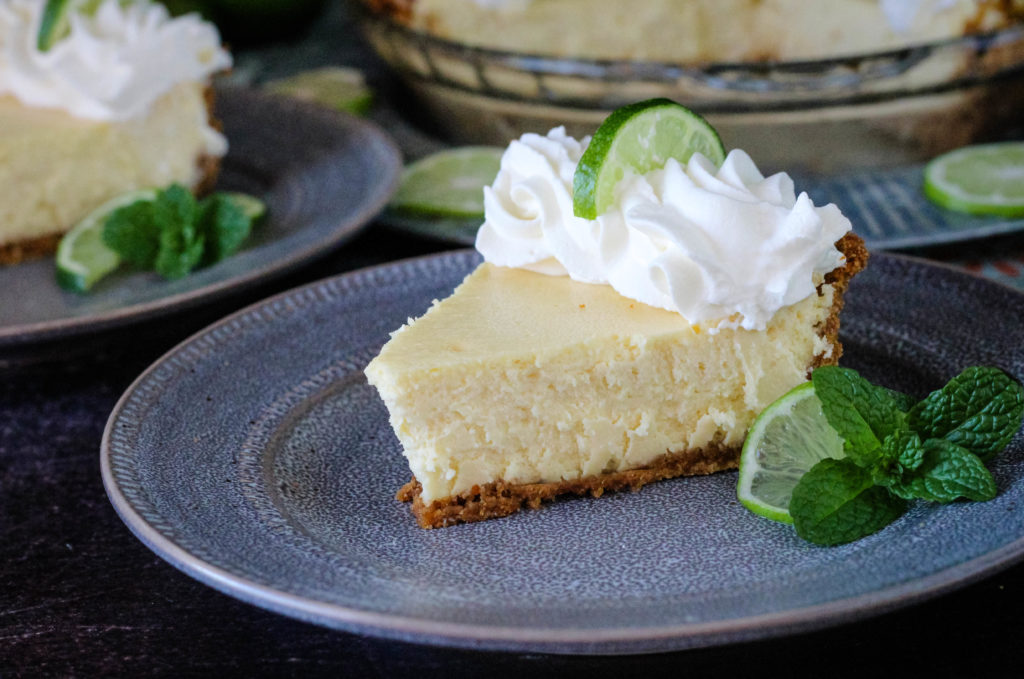Creamy Key Lime Pie Slice on a plate