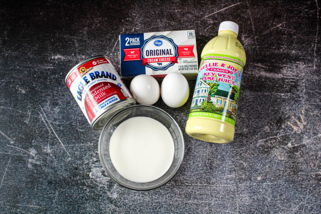 ingredients for the filling of creamy key lime pie