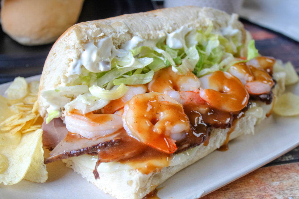 Surf and Turf Po'Boys on a plate