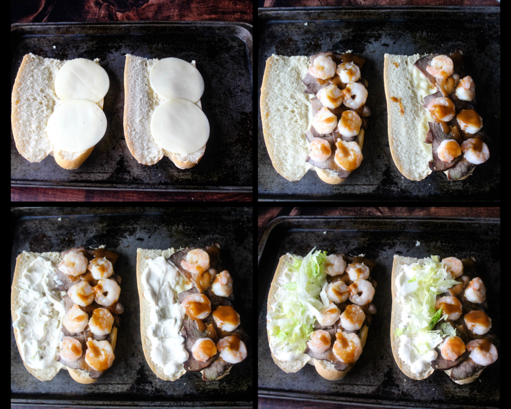 Steps to building Surf and Turf Po'Boys