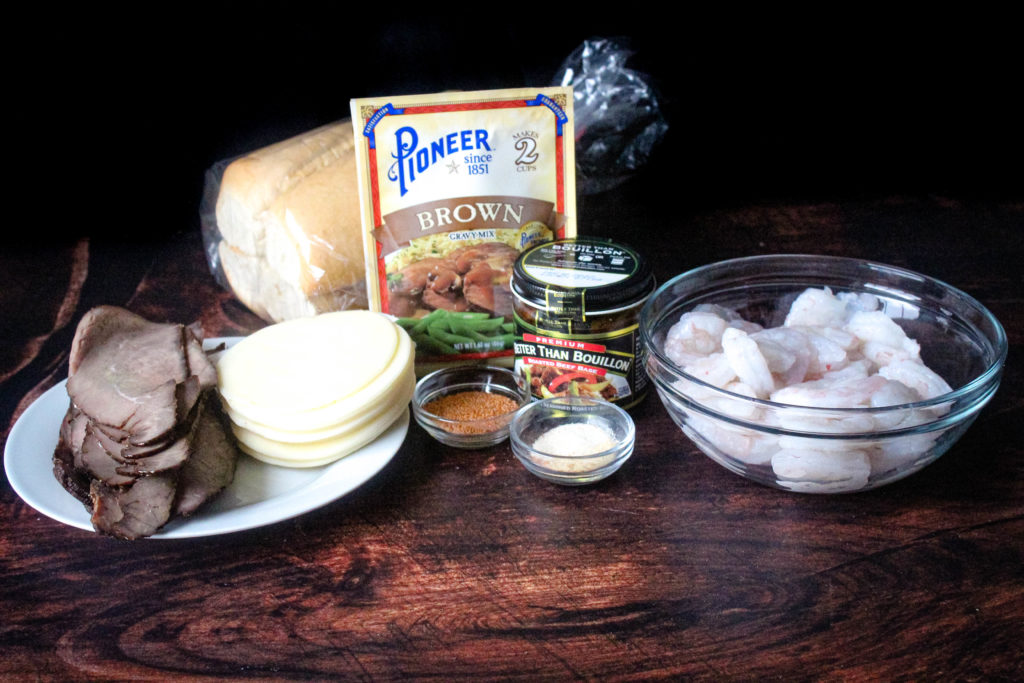 All of the ingredients to make Surf and Turf Po'Boys