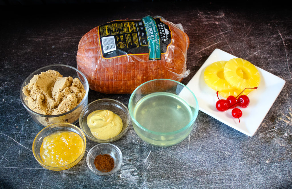 Ingredients needed for Brown Sugar and Pineapple Glazed Ham
