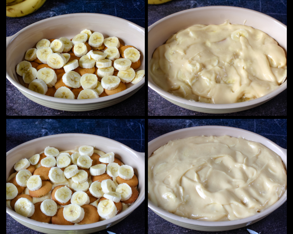 Putting together the layers of Homemade Banana Pudding