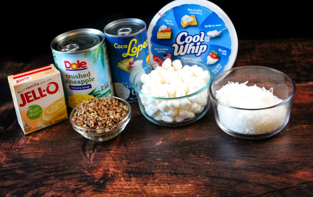 Ingredients needed to make pina colada fluff
